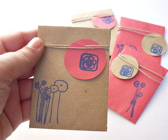 Handmade Mini Gift Bag with mini tag - Kraft brown and red (pack of 6)