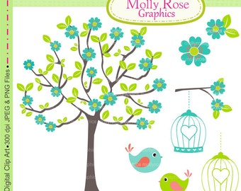 SALE tree clip art , birds clip art , Digital Clip Art Teal FlowersTree birdcage , Invitations, Card Making, Scrapbooking  M.11