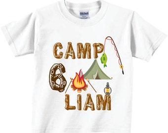 6th Birthday Shirts or Any Birthday with Camping and Tent