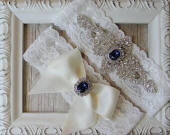 "Wedding Garter - Vintage Garter Set w/ ""Sapphires"" and Rhinestones on Comfortable Lace, Wedding Garter Set, Crystal Garter Set"