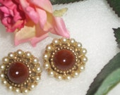 VINTAGE Earrings, Rich Deep Sienna Brown and Simulated Pearl Antique Clip Earrings