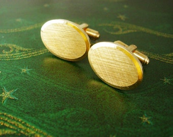 Brushed Oval Gold Cufflinks Vintage Engravable Birthday Wedding Valentines Day
