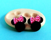 Mouse Head Mold plus bow Flexible Silicone - mini Toppers - Resin - Polymer Clay - FOOD Safe - Fondant - Chocolate - Candy - Sugar S383 S408