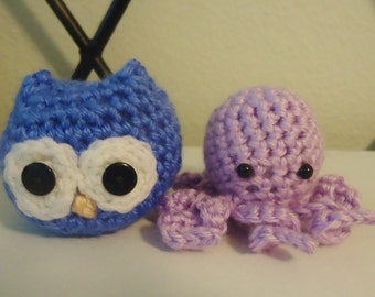 Hand Crocheted Custom Colored Stuffed Owl or Octopus