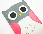 """KIndle Paperwhite Case Cover Sleeve Kindle Paper White 3G 6"""" Case - Owl in Pink/Grey"""