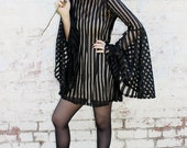 ADELE PSYCH 'Mesmerise' Glam Goth Rock Black Sheer Tulle Mesh Stripe Babydoll dress with Bell Sleeves