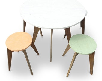 CAFE EDITION - Eco-Friendly / Handmade  /  Recycled Repurposed Round Dining Table Made From Recycled Houses