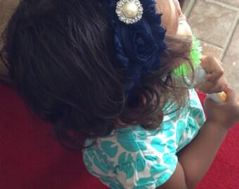 Navy Blue Color Shabby Chiffon Flower Headband, Girl Headband, Baby Girl Headband, Infant Girl Headband, Newborn Girl Headband
