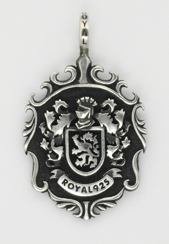 royal 925 biker jewelry family crest pendant sterling