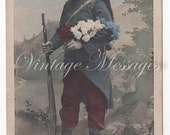 Old vintage mysterious postcard pre-world war Belgian postage stamp
