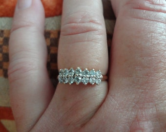 10k Ring Diamond Wedding Band Gold Bride Engagement Bride Groom Modern Cubic Zirconia CZ Engagement Ring
