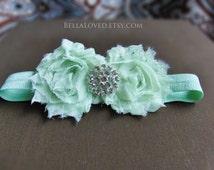 Mint Green Baby Headband - Mint Headband - Shabby Baby Headband - Newborn Photo Prop