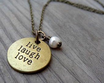 LIVE Laugh Love Bronze  White Freshwater Pearl Crystal Bead Necklace Pendant Wire Wrap Handmade Jewelry
