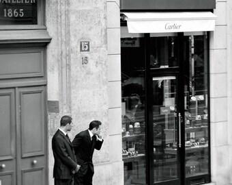 Black and White Paris Photo, 8x10 Fine Art Print, French Men, Cartier, Elegant, Classy, Suit, Shopping, Parisian, City Life