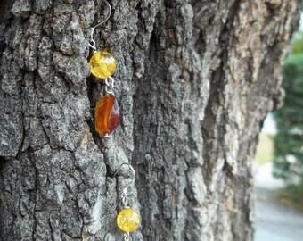 Honey and Cognac Amber Earrings w/ Sterling Silver Earwire