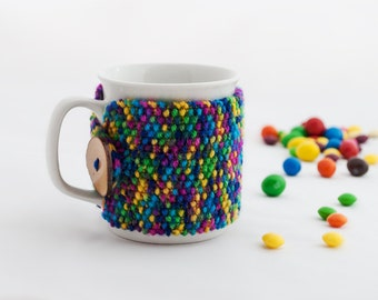 Cup Cozy Cold Rainbow, Knitted Mug Cozy, Coffee Cozy, Tea Cup Cozy, Handmade Wooden Button, Coffee Cozy Sleeve, Warmer, Winter, Gift