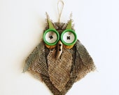Owl Wall Decor Burlap Mirror Eyes OOAK Green Brown Eco Ornament
