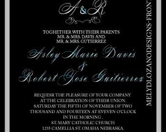 Elegant Black & Blue Wedding Invitation