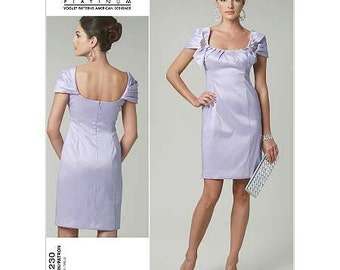 """Party Dress by Badgley Mischka - 2010's - Vogue Pattern 1230  Uncut  Sizes  8-10-12-14 Bust:  31.5-32.5-34-36"""""""