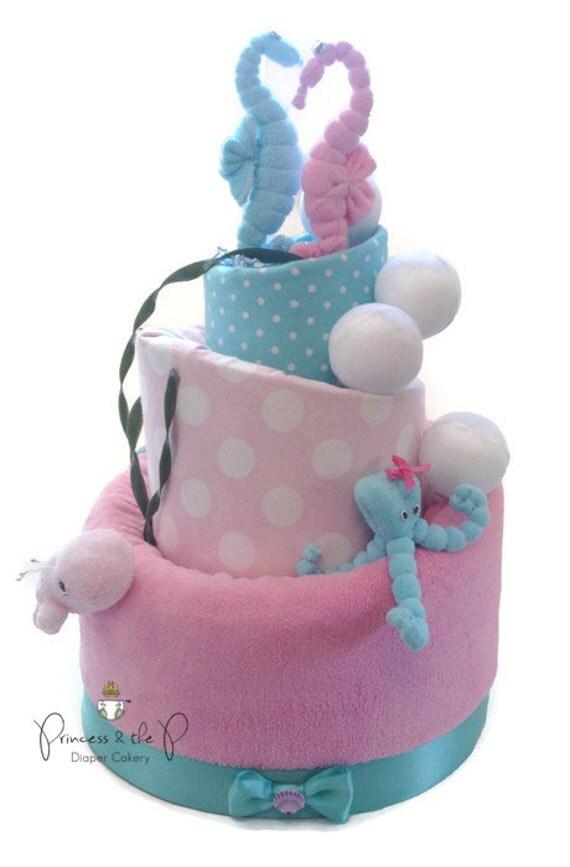 Nautical bedding for girls - Under The Sea Diaper Cake Topsy Turvy Diaper Cake Nautical Baby