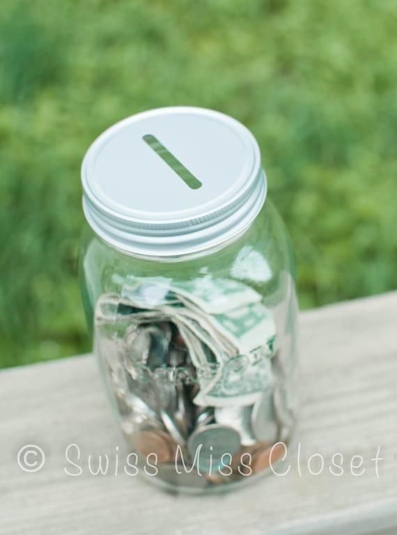 items similar to mason jar bank quart size on etsy. Black Bedroom Furniture Sets. Home Design Ideas