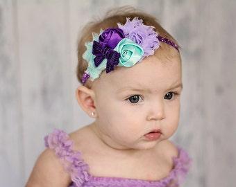 Purple & Aqua Baby Headband, Girl Headband,  Baby girl Headband, newborn headband,