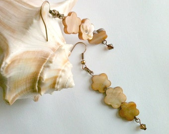Brown Shell Flower Earrings With Swarovski Crystals