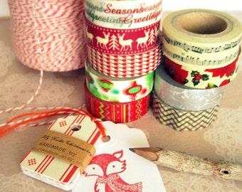 Christmas Fox Tags, Handmade Christmas Fox Tags,Woodland Fox Tags, Merry Christmas Gift Tags, Christmas Scrapbooking