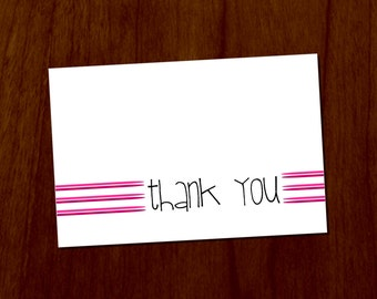 Pink Lines 4x6 Printable Thank You Card