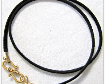 14 to 24 inch Black Necklace Cord,  Fancy Designer Antique Gold Finish S Hook Clasp,Jewelry accessories, Black Cord,  Black Suede Cord