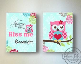 """Owl Nursery Decor - OWL canvas art, Baby Girl Nursery Owl Decor 10""""x 12"""" """"always kiss me good night"""" nursery art"""