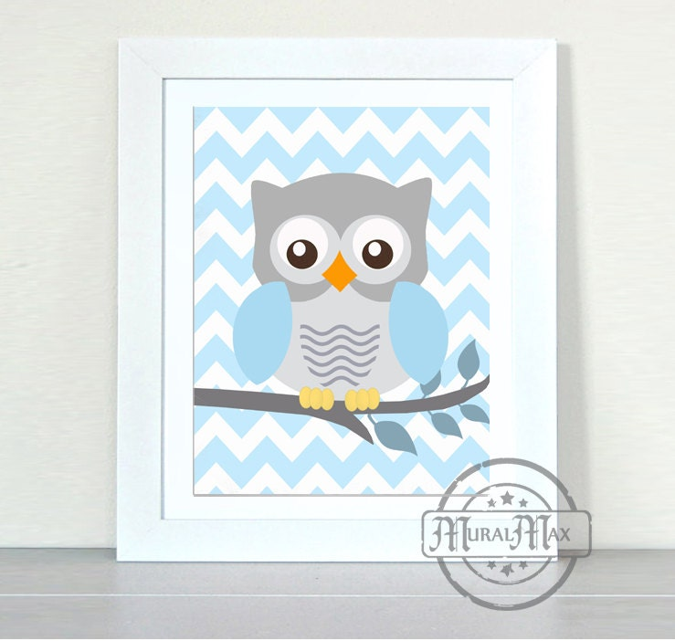 Owl decor baby boy nursery owl print wall art boys for Boys wall art