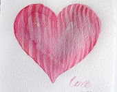 Heart watercolor painting original. Valentine's Day gift. Art original. Small watercolors 7,5 by 11 inches. Pink, red heart