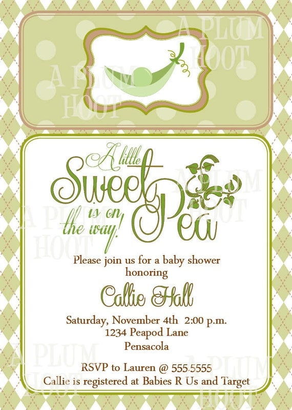 sweet pea in a pod baby shower invitation personalized diy 5x7