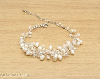 White freshwater pearl bracelet with crystal and stone on silk thread, white pearl bracelet
