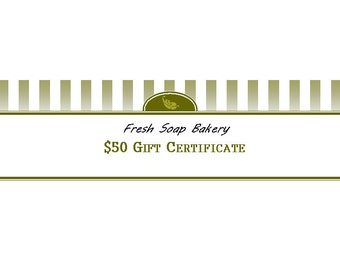 Gift Certificate: 50 Dollars to Fresh Soap Bakery - Etsy Online Shop Only