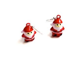 Metal Santa earrings with bells, Christmas, Santa Claus, Father Christmas, Saint Nicholas, bells, festive season, holidays, December