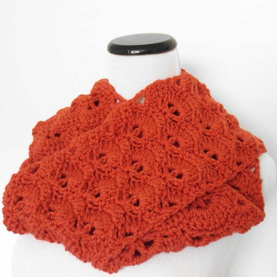 Items similar to Coral Natural Crochet Open Fan Stitch Infinity Scarf ...