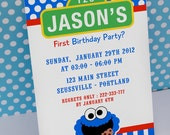 Cookie Monster Sesame Street Inspired Birthday Party - DIY PRINTABLE Invitation Card - H1a
