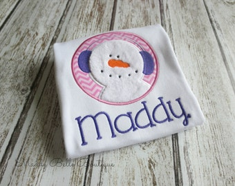 Cute Fuzzy Snowman Applique Shirt - Embroidered Shirt, Appliqued Shirt, Snowman, Fuzzy, Monogram, Personalized Shirt, Winter