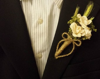 Wedding Boutonniere (Boutineer) - White (Ivory) Roses with Green Babys Breath and Wheat