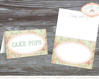 INSTANT DOWNLOAD - Printable Blank Tent Cards, Shabby Chic, Vintage, First, Birthday, Shower, Girl, Food, Label, Sign - PDF File, You Print