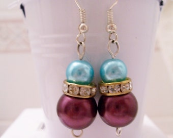 CLEARANCE - Burgundy and teal blue pearl earrings - burgundy and blue pearl beaded earrings - Swarovski banded earrings - burgundy earrings