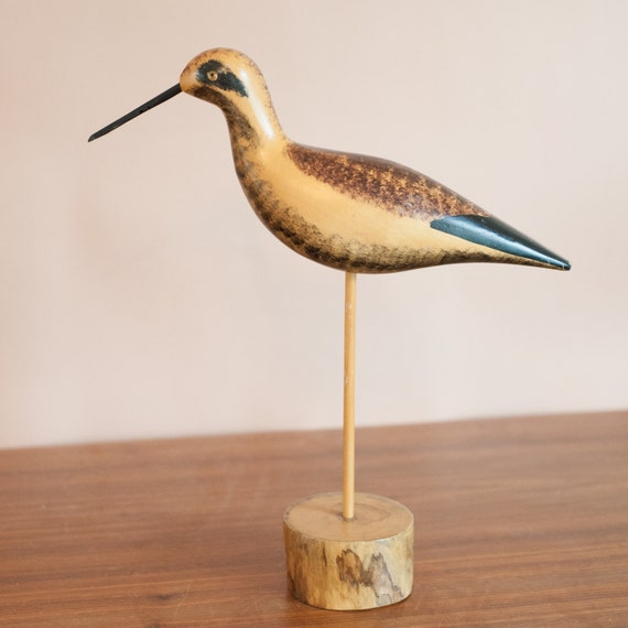 Wooden sandpiper decoy beach house decor nautical bird for Bird home decor