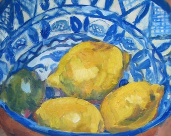 """Lemons and Lime in a Patterned Bowl-Oil Still Life Painting 18x18"""" Original Artwork, fruit, kitchen"""