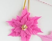 Pink poinsettia ornament for your Christmas Tree.