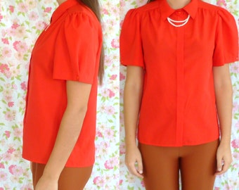 Vintage Bright Red Blouse w/ Built-In Necklace