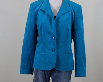 1980s Teal Ultra Suede Jacket Blazer, Roth-Le Cover