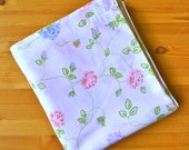 Vintage Queen Sheet, Shabby Chic Pink Purple and Blue Floral