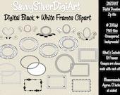 Black Digital Frames - Instant Download, Fancy Frame Digital Clipart, Decorative Swirl Black Label Frame Border